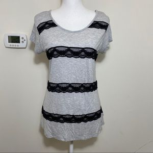 Guess Women's Rayon Lace Scoop Neck Tee M
